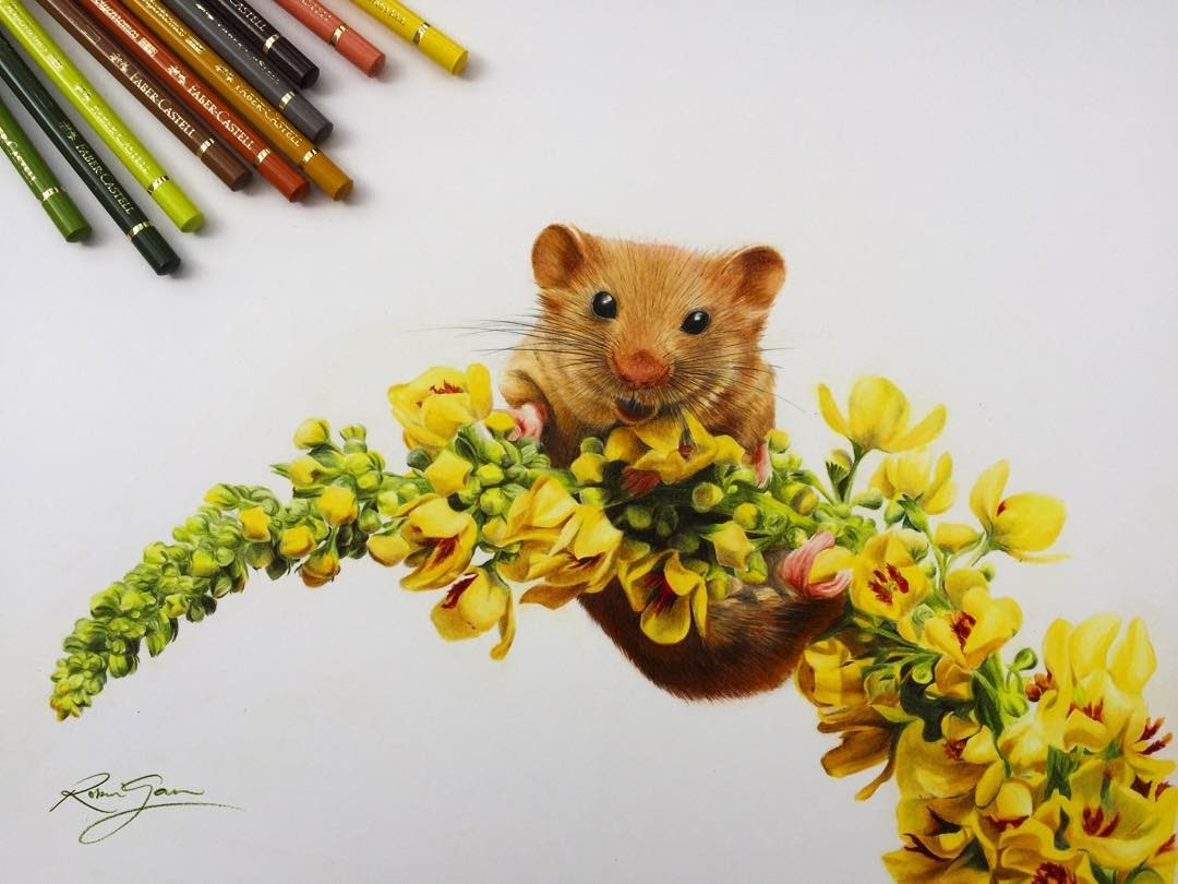 07-Dormouse and Flowers-Robin-Gan-Realistic-Color-Pencil-Animal-Drawings-www-designstack-co