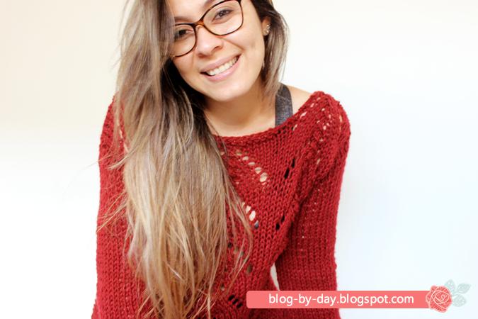 Blog-By-Day  Sweater Vermelho em Tricô    Tradução e Vídeo Passo a Passo d708e1b8006