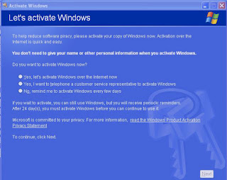 Cara mengatasi error windows activation pada windows XP