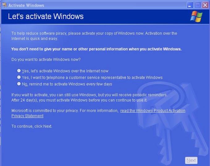 Cara mengatasi error windows activation pada windows XP
