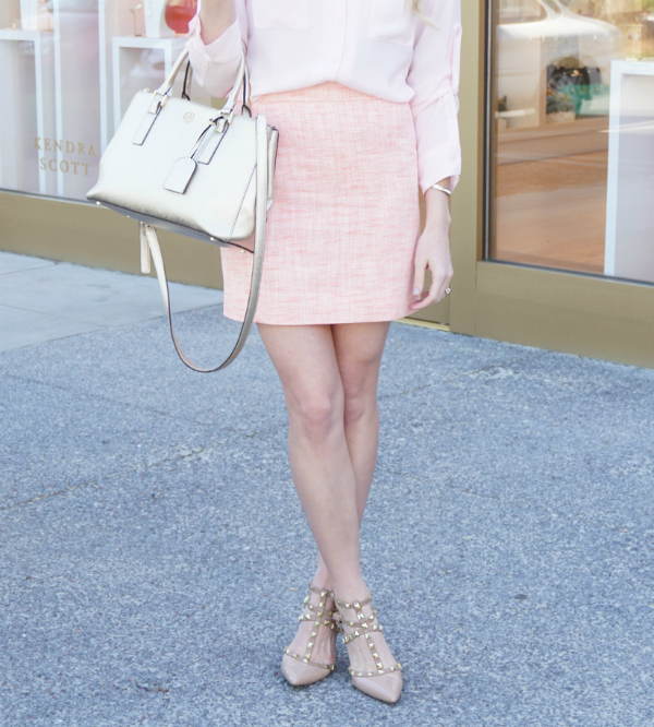 strawberry chic, J. Crew Outlet, tweed skirt, rockstar studs, sole society, studded heels, valentino dupe