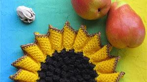 Patrones crochet de agarradera girasol / agarradores