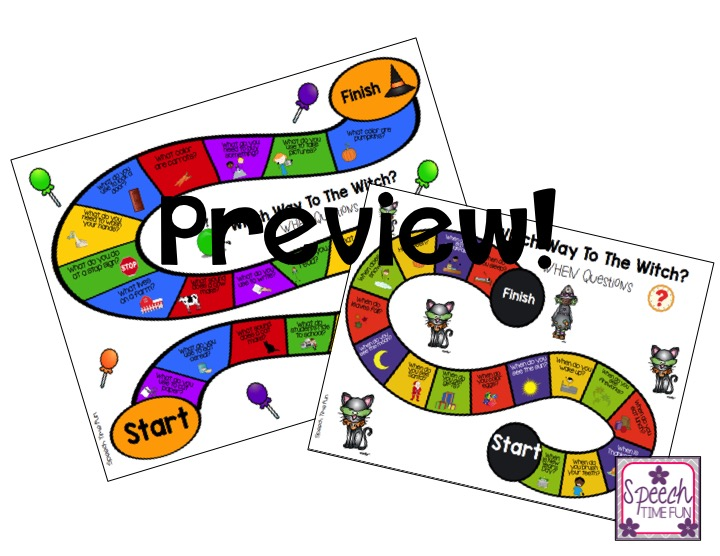 Which Way To The Witch? WH Question Halloween Board Games