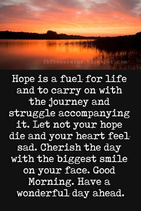 Good Morning Text Messages, Hope is a fuel for life and to carry on with the journey and struggle accompanying it. Let not your hope die and your heart feel sad. Cherish the day with the biggest smile on your face. Good Morning. Have a wonderful day ahead.