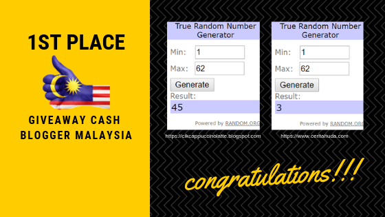 Pemenang Giveaway Cash Blogger Malaysia