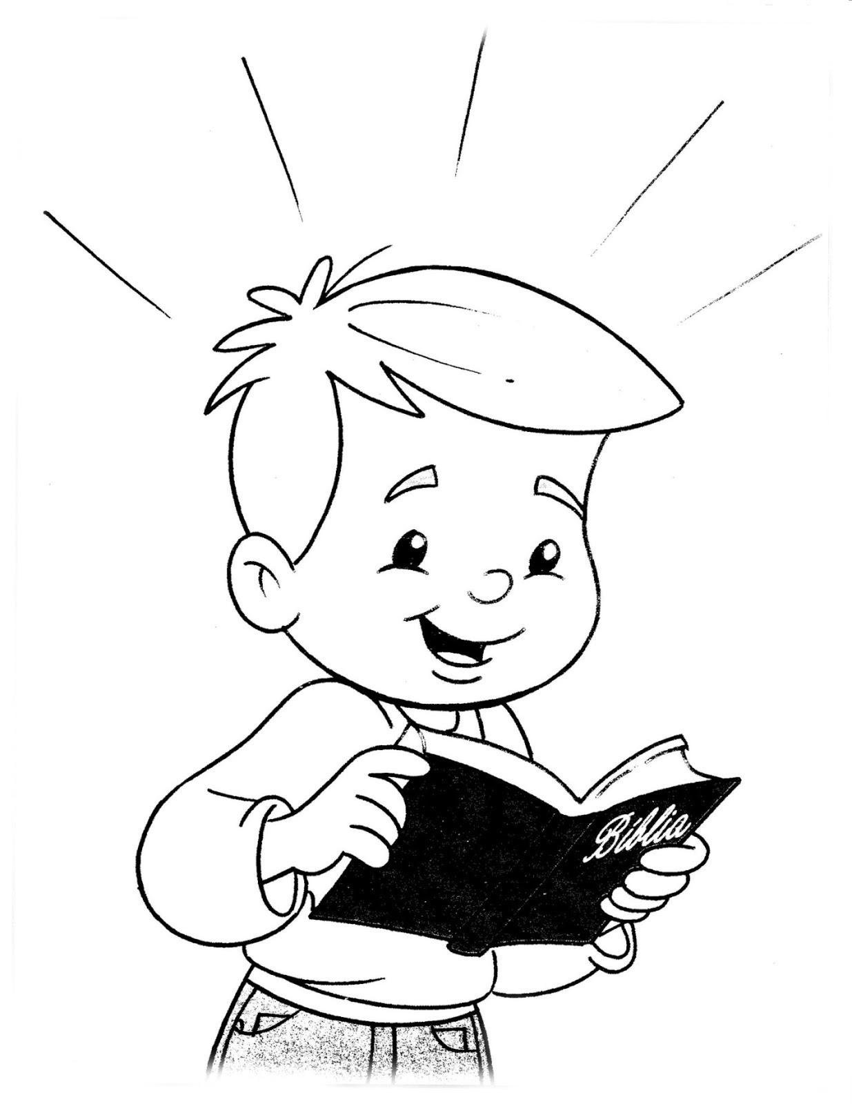 biblical coloring pages for kid | Niño leyendo la biblia para colorear ~ Dibujos Cristianos ...