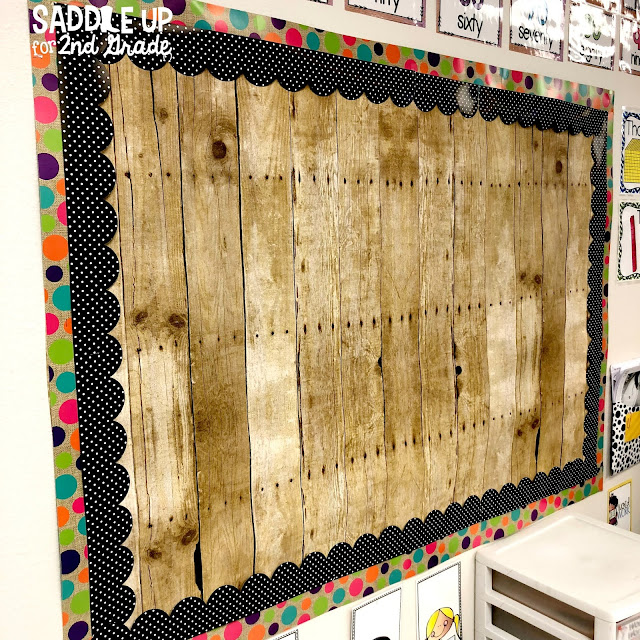The blog posts features a tour of my 2nd grade classroom with a burlap and bright theme!