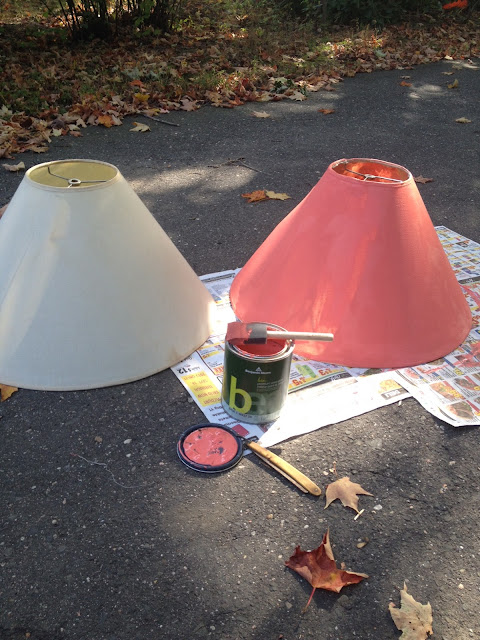 Painted Lamp Shades, a Pop of Color