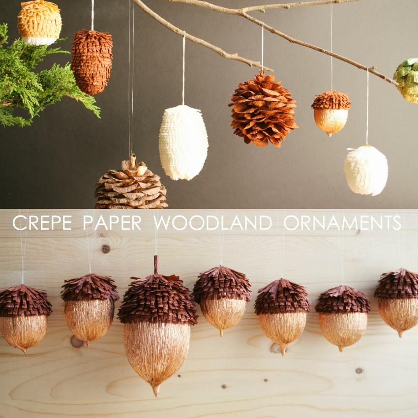 Corner Blog: Diy Crepe Paper Woodland Ornaments