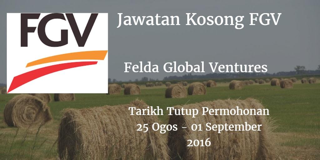 Jawatan Kosong FGV 25 Ogos - 01 September 2016