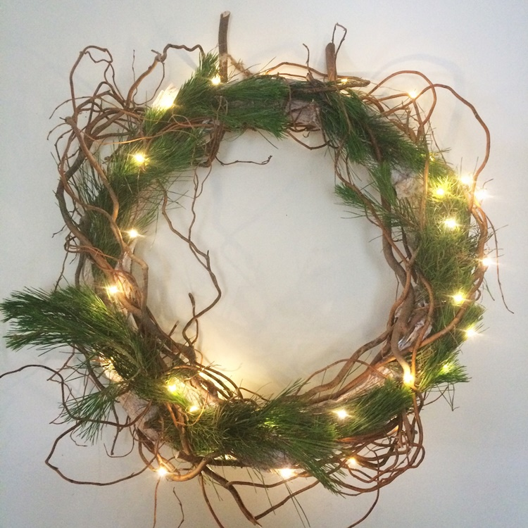 Christmas wreath - twisted willow and snipped pine fronds (from the back of the Christmas tree)