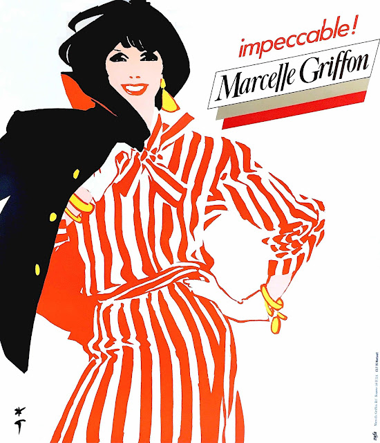 a Rene Gruau illustration for Marcelle Griffon in red