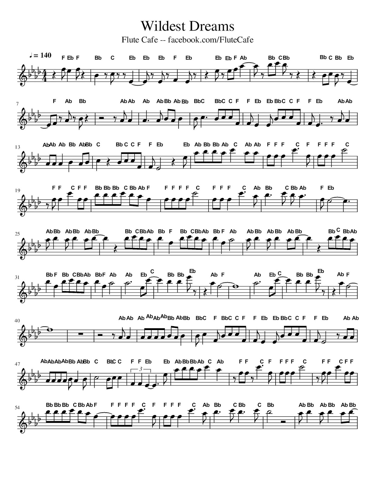 Flute Cafe Wildest Dreams By Taylor Swift Flute Sheet Music