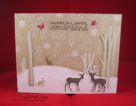 Winter card woodland animals and birch trees by Crafty Math-Chick | Serene Silhouettes stamp set by Newton's Nook Designs #newtonsnook