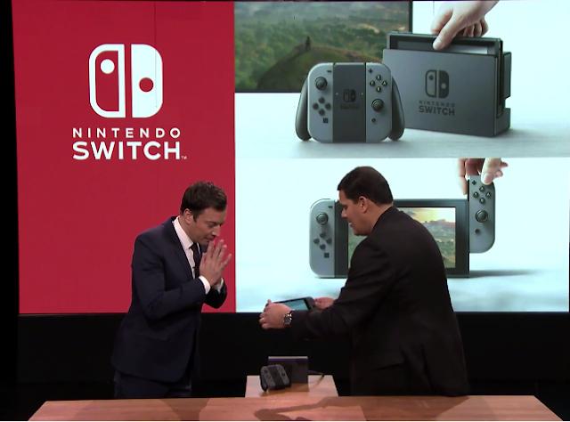 Nintendo Switch Tonight Show Jimmy Fallon Reggie Fils-Aime Dock demostration
