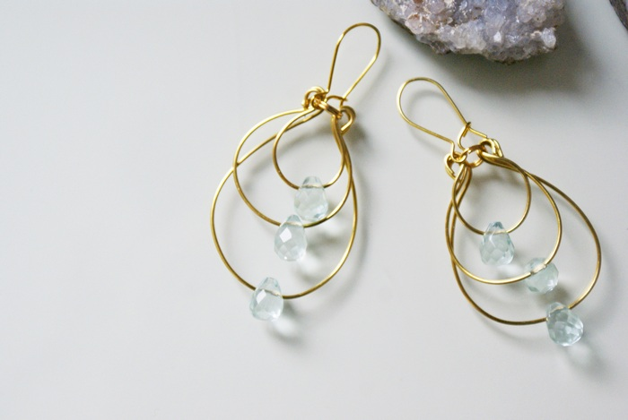 earrings quartz drops gocce quarzo orecchini