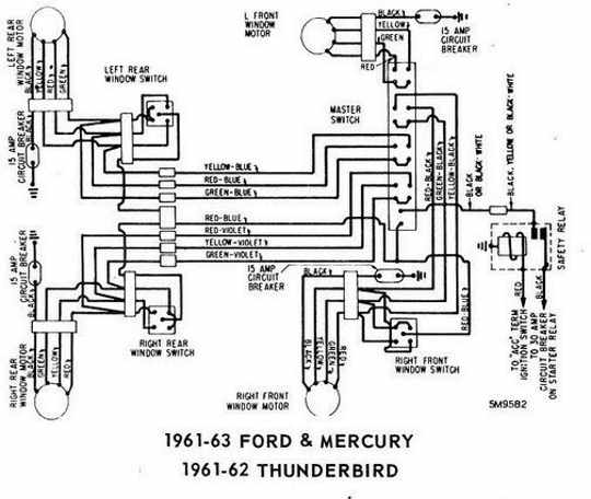 Ford Thunderbird 1961 1962 Windows Control Wiring Diagram