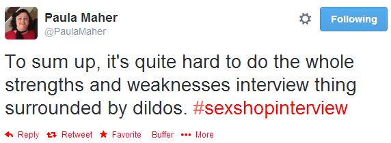 sex shop interview, tweet,