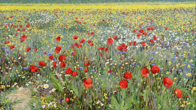 Campo de flores Castelluccio di Norcia Itália Papoulas Fioritura 100x180 Raquel Taraborelli  Pintor Artista Arte Pintura Impressionista Moderna Contemporânea Brasil Brasileiro - fiori papaveri Pittore Pittura - Champ de fleurs coquelicots - Art de peinture impressionniste Artiste peintre contemporain - Field of poppies flowers - Impressionist Painter Artist Painting Contemporary  modern Art