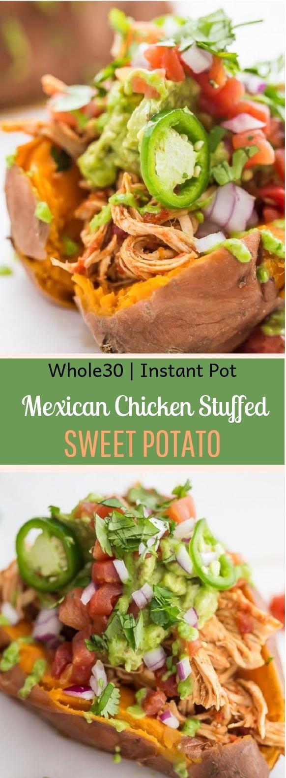 Mexican Chicken Stuffed Sweet Potatoes #Paleo #InstantPot