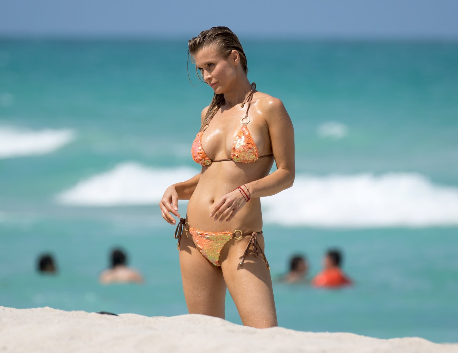 Joanna Krupa suffers nipslip on Miami beach