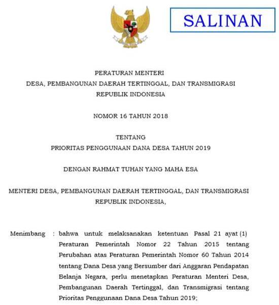 Permendesa PDTT Nomor 16 Tahun 2018 tentang Prioritas Dana Desa Tahun 2019