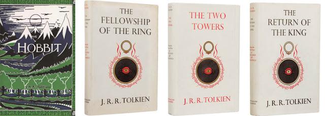 Capas originais dos livros O Hobbit e O Senhor dos Anéis