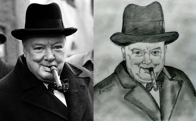 PENCIL DRAWING - Winston Churchill