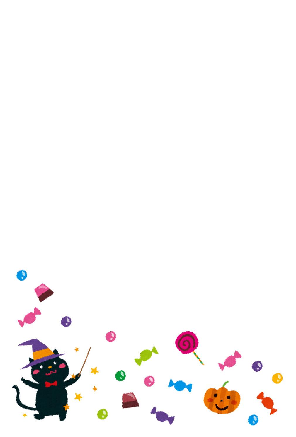 季節のはがきのテンプレート「10月 ハロウィンと黒猫とお菓子