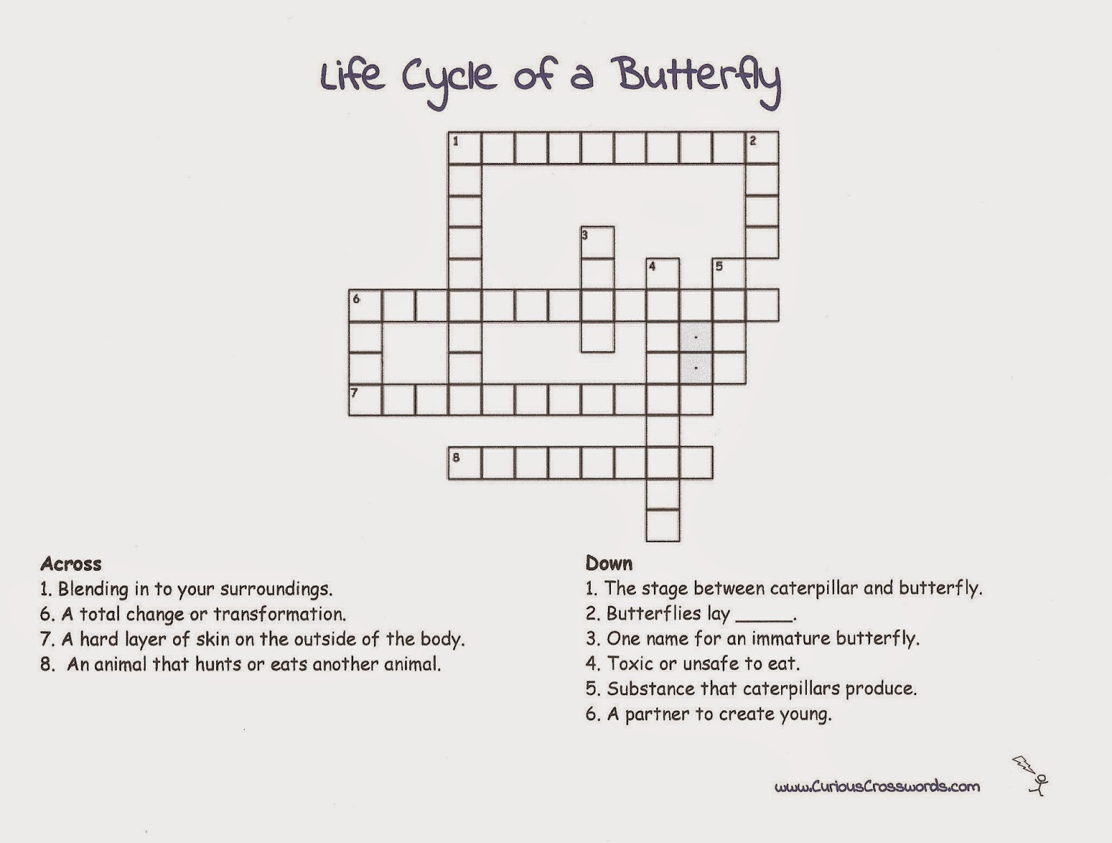 Curious Crosswords Butterfly Printable With Crossword