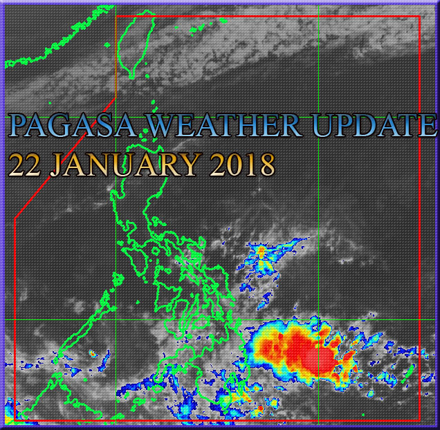 Shown in the image that only easterlies will have greatly affects a some part of Visayas and Mindanao. Image taken via PAGASA Weather Satellite - HMAWARI - 8 as of 5:00 AM, 22 January 2018.