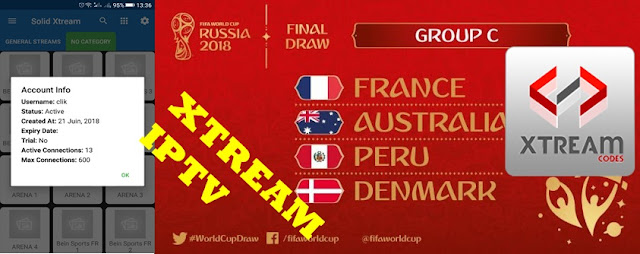 Xtream iptv apk + new test code to watch world cup 2018 games today