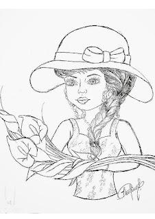 desenho para pintar boneca em pano de prato e colocar saia de croche