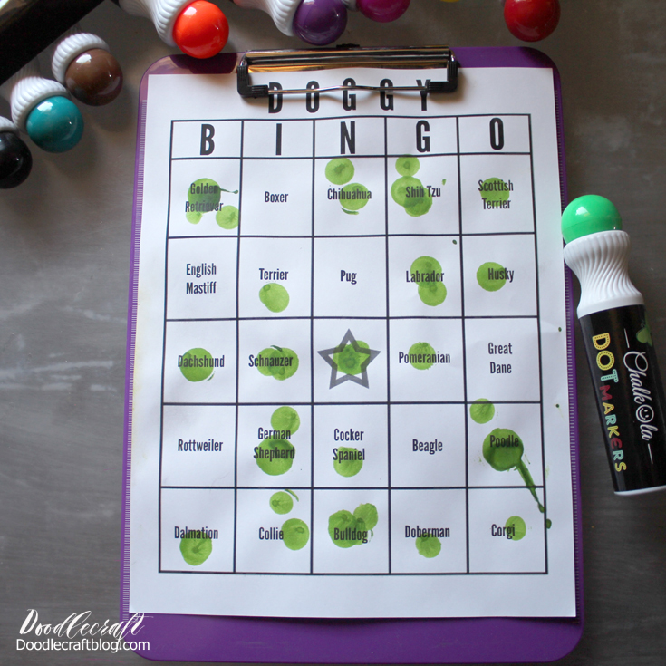 Doggy bingo game for family fun at the street fair or carnival.