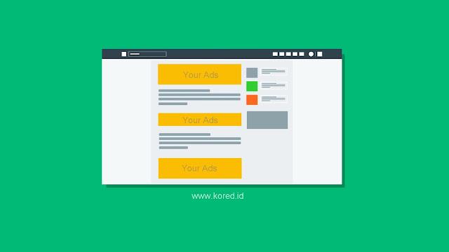 Memasang Iklan Adsense di Atas, Tengah dan Bawah Artikel - Kored ID