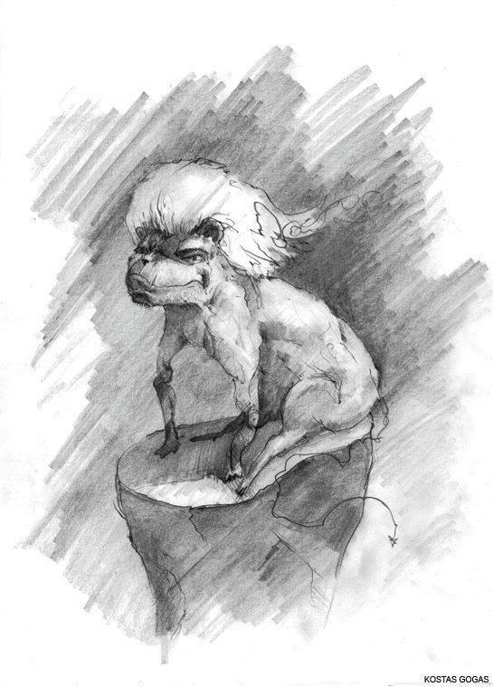 A dog-like monstrous character (with a haircut) sitting on a cliff. Drawing by Greek Artist Kostas Gogas.