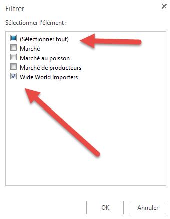 Menu Filtrer - Excel Online