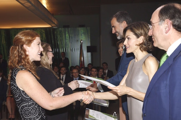 King Felipe of Spain and Queen Letizia of Spain, Ignacio Sanchez Galan and Isabel Garcia Tejerina deliver Iberdrola Foundation scholarships at casa de America