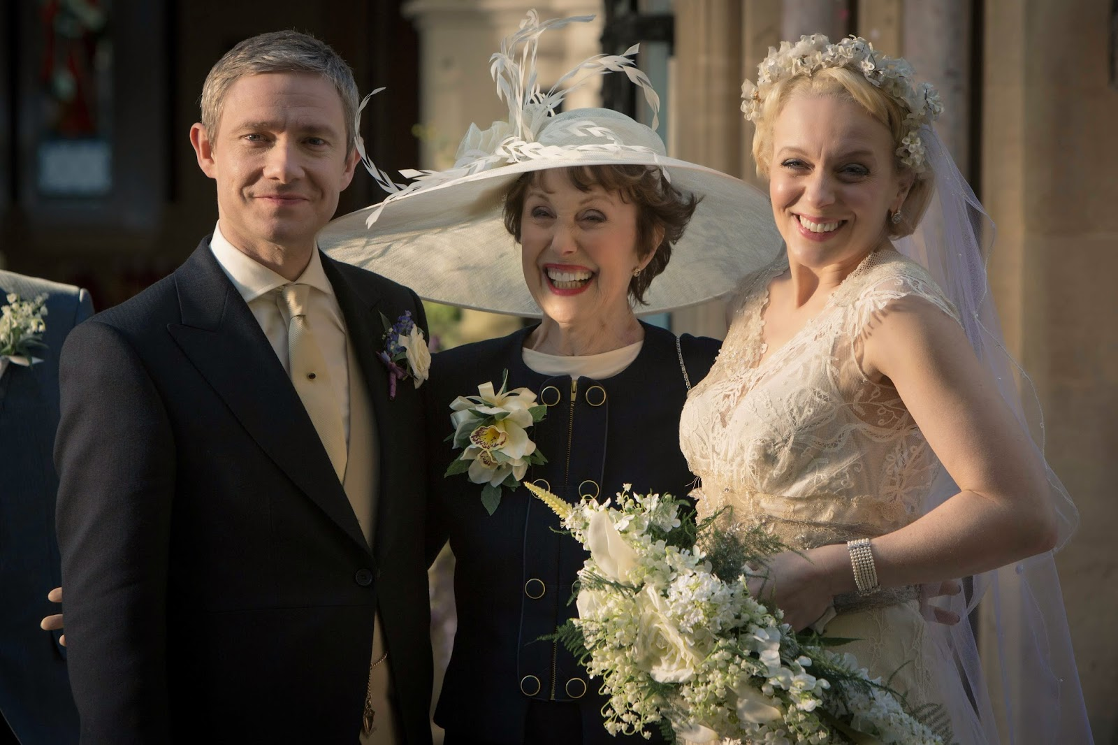 Martin Freeman, Una Stubbs and Amanda Abbington as John Watson, Mrs Hudson and Mary Morstan in BBC Sherlock Season 3 Episode 2 The Sign of Three