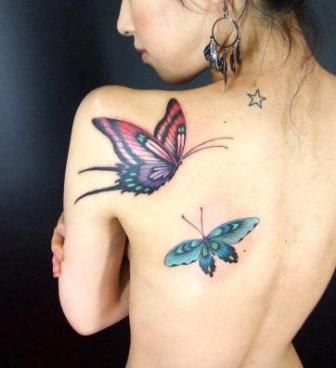 Foto Tattoo Design Butterfly Kupu Di Tubuh Wanita 23