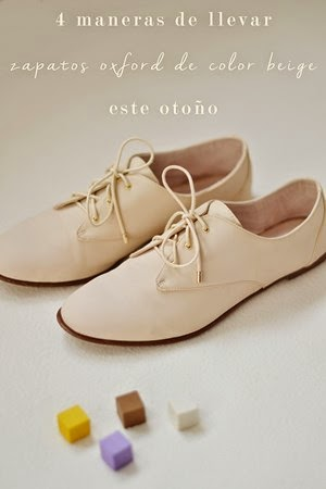 4 maneras de llevar zapatos oxfords de color beige