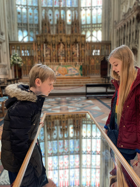 reflection tables in Gloucester Cathedral