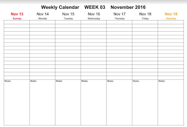 November 2016 Weekly Calendar