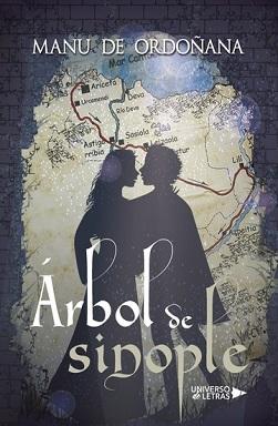 Portada de Árbol de sinople de Manu de Ordoñana, donde se aprecia la silueta de una joven y un joven delante de un mapa de la provincia de Guipuzkoa.