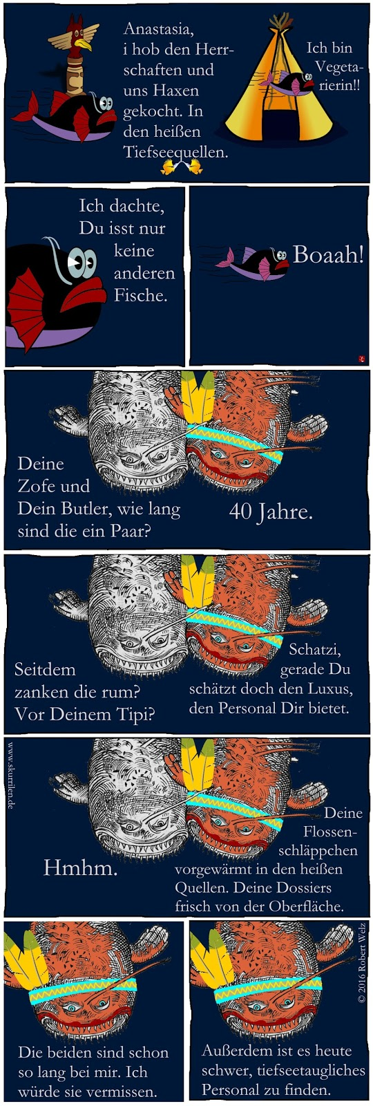 Witz untermeerisch. Die Fische krakeelen wieder rum. Diesmal geht es um Ernährungsfragen. Seeungeheuer F. Mulder und sein Schatz Pocahontas haben zuerst unterschiedliche Auffassungen.