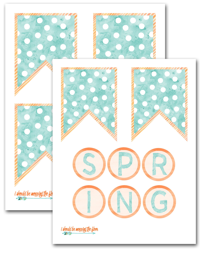 Free Printable Watercolor Spring Banner | This fun banner has a dimensional aspect to make the letters really pop! A flattened version is available, too. Instant downloads.