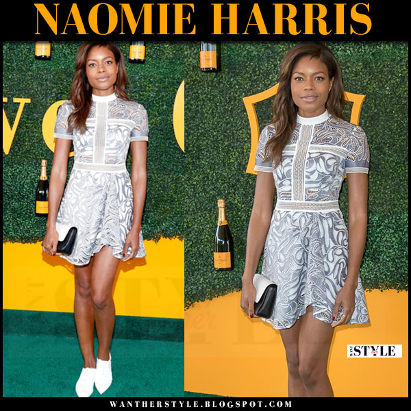 Naomie Harris in lace short sleeve mini dress self portrait red carpet what she wore