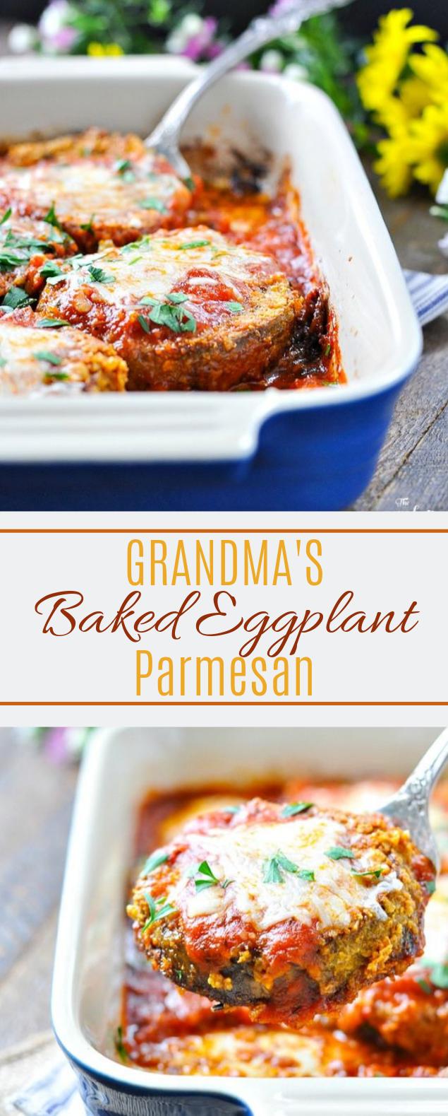 Baked Eggplant Parmesan #weeknight #vegan