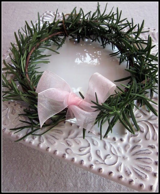 Harvest rosemary and create a tiny wreath