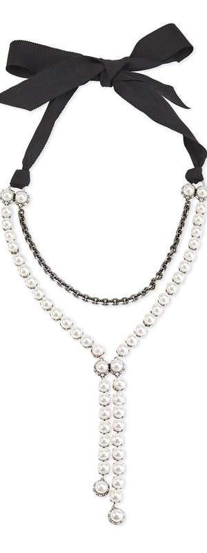 Lanvin Pearly Bow-Tie Y-Drop Necklace